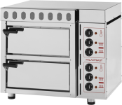 Pizza oven with fire-resistant stone and extractor fan – 2 chambers