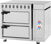 Pizza oven with fire-resistant stone and extractor fan with touch screen controls – 2 chambers